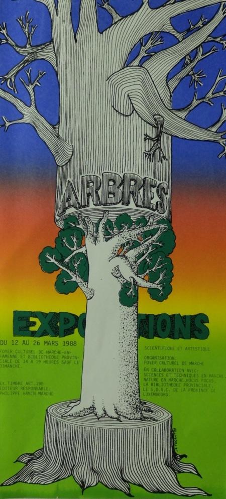 affiche sérigraphiée mail art, les arbres